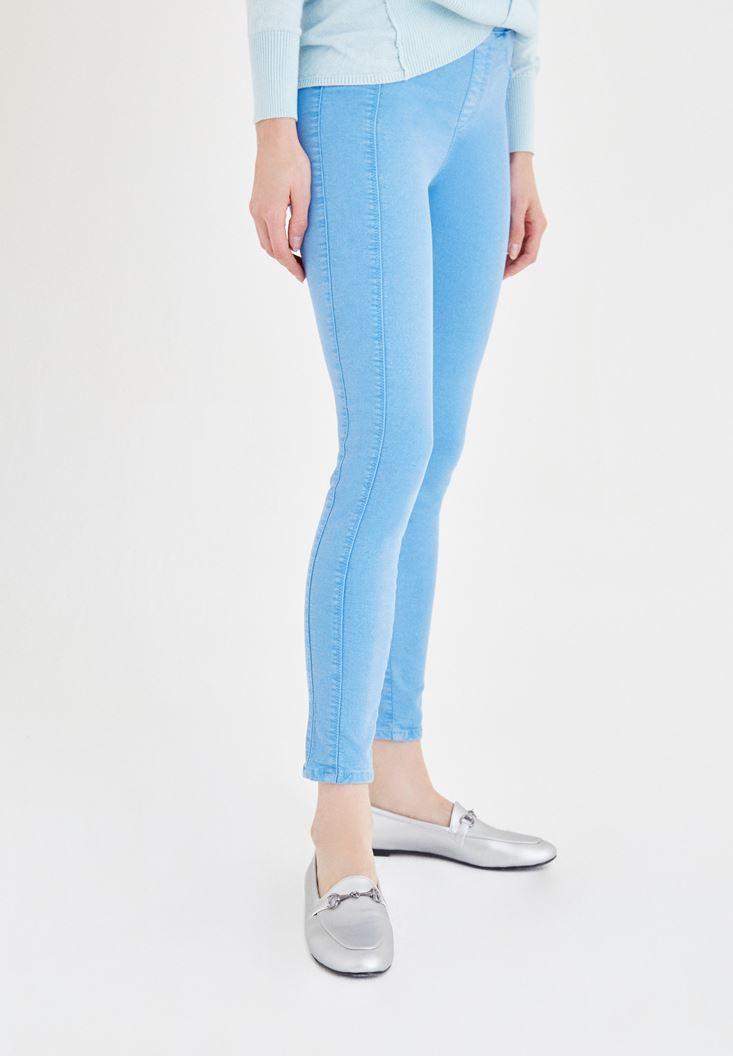 Bayan Mavi Düşük Bel Dar Pantolon