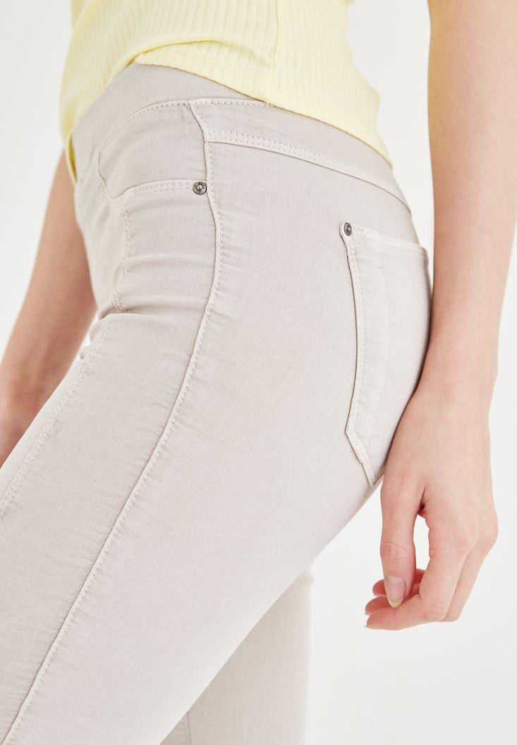 Bayan Krem Düşük Bel Dar Pantolon