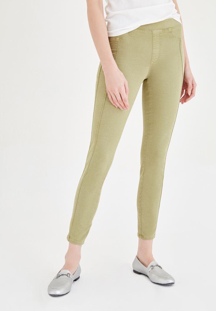 Yeşil Düşük Bel Dar Pantolon