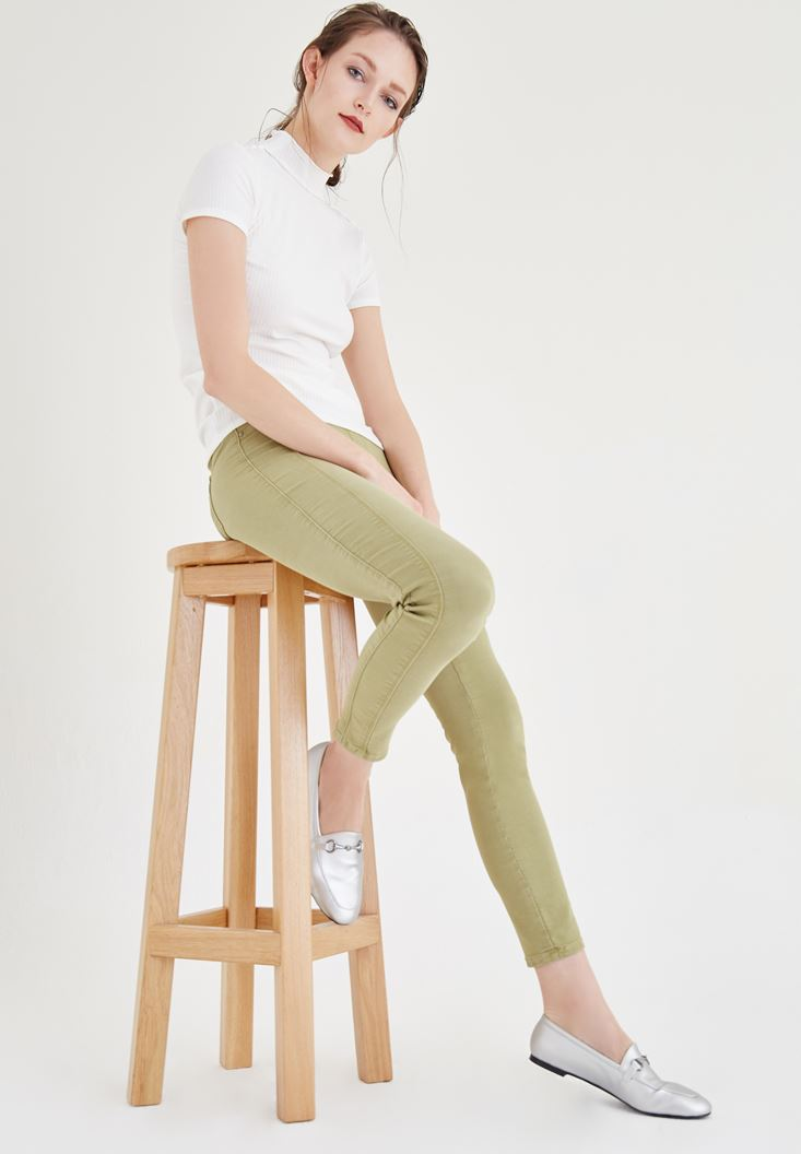 Bayan Yeşil Düşük Bel Dar Pantolon