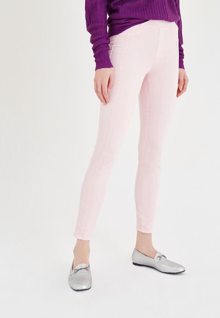 Bayan Pembe Düşük Bel Dar Pantolon