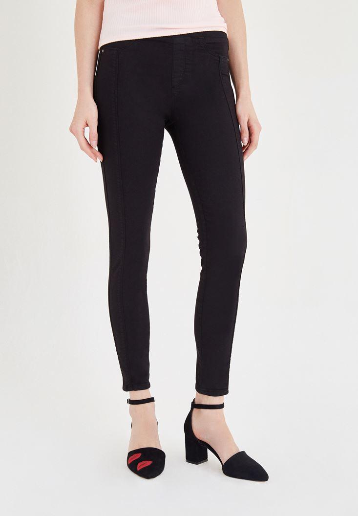 Siyah Düşük Bel Dar Pantolon