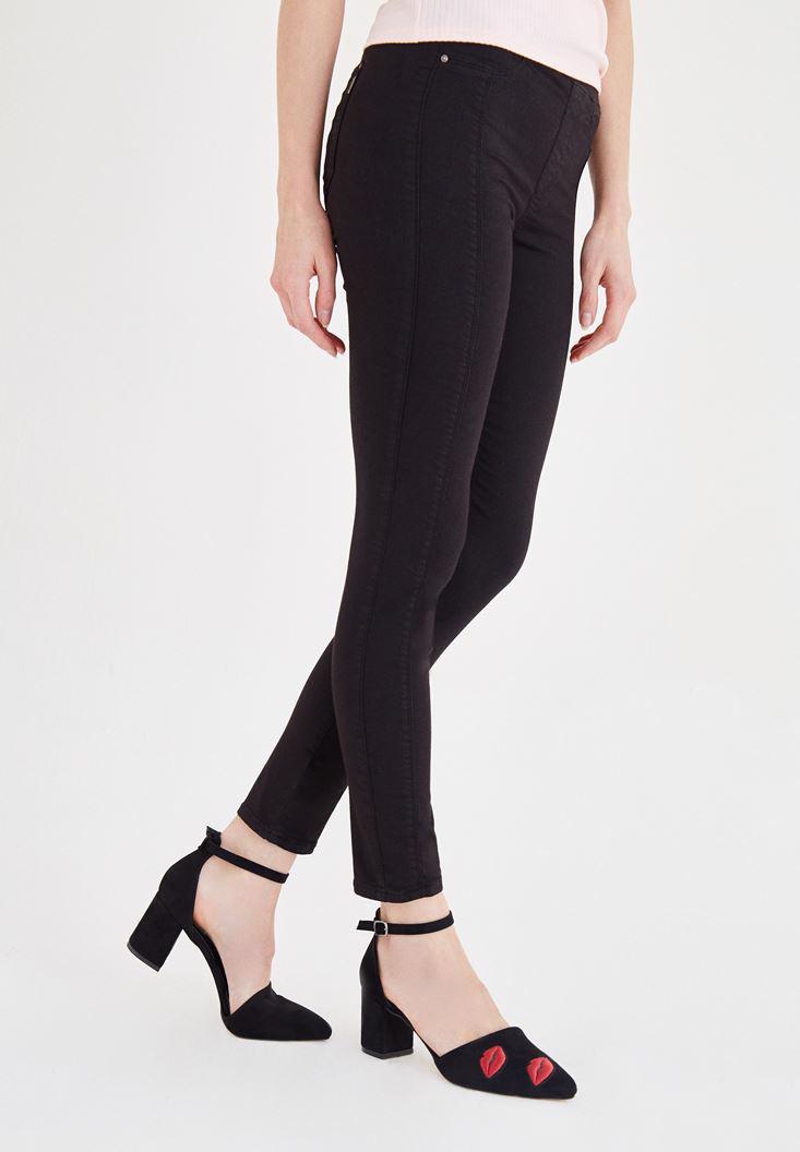 Bayan Siyah Düşük Bel Dar Pantolon