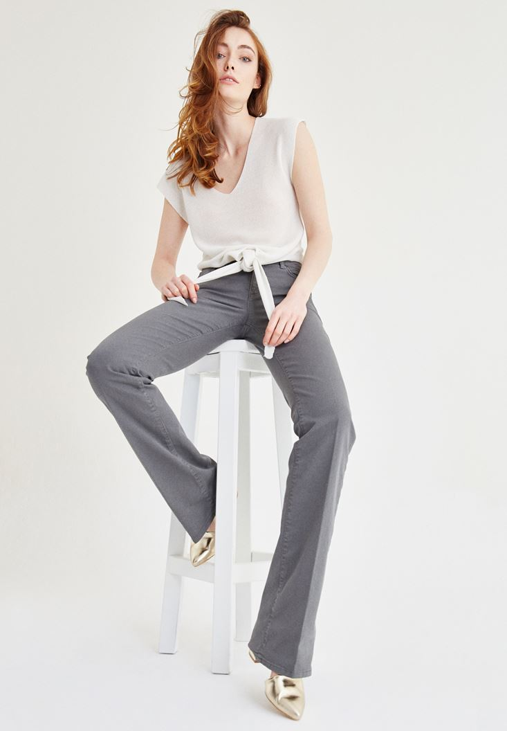 Grey Low Rise Boot Leg Pants