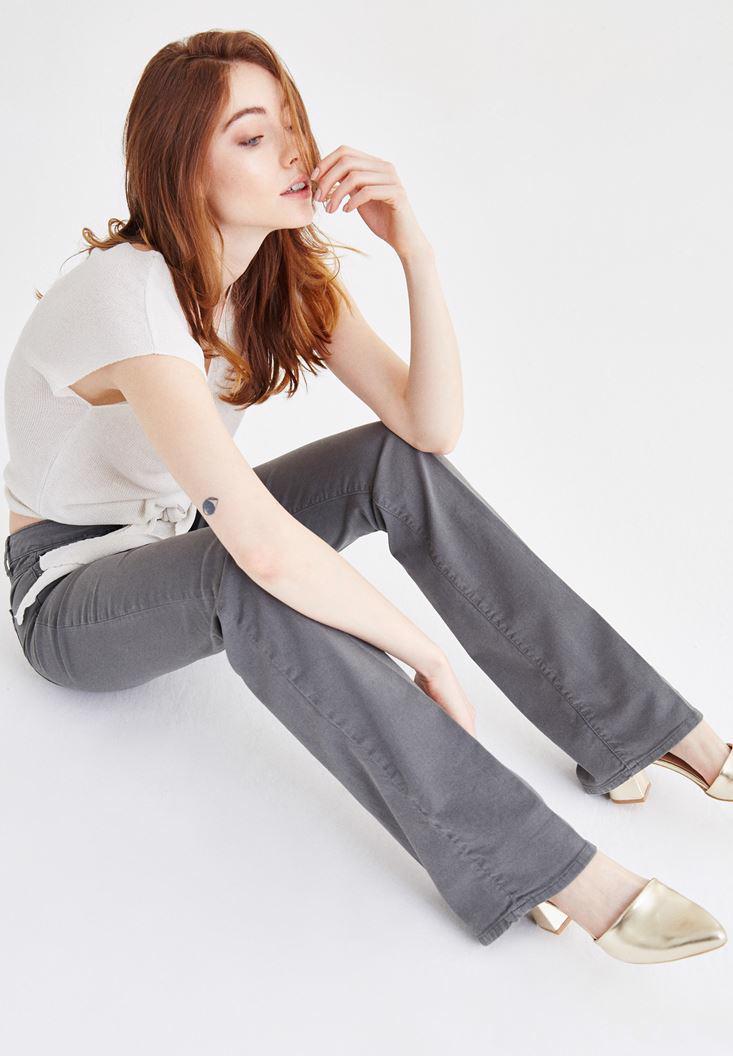Bayan Gri Düşük Bel Bot Paça Pantolon