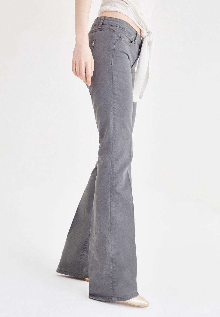Women Grey Low Rise Boot Leg Pants