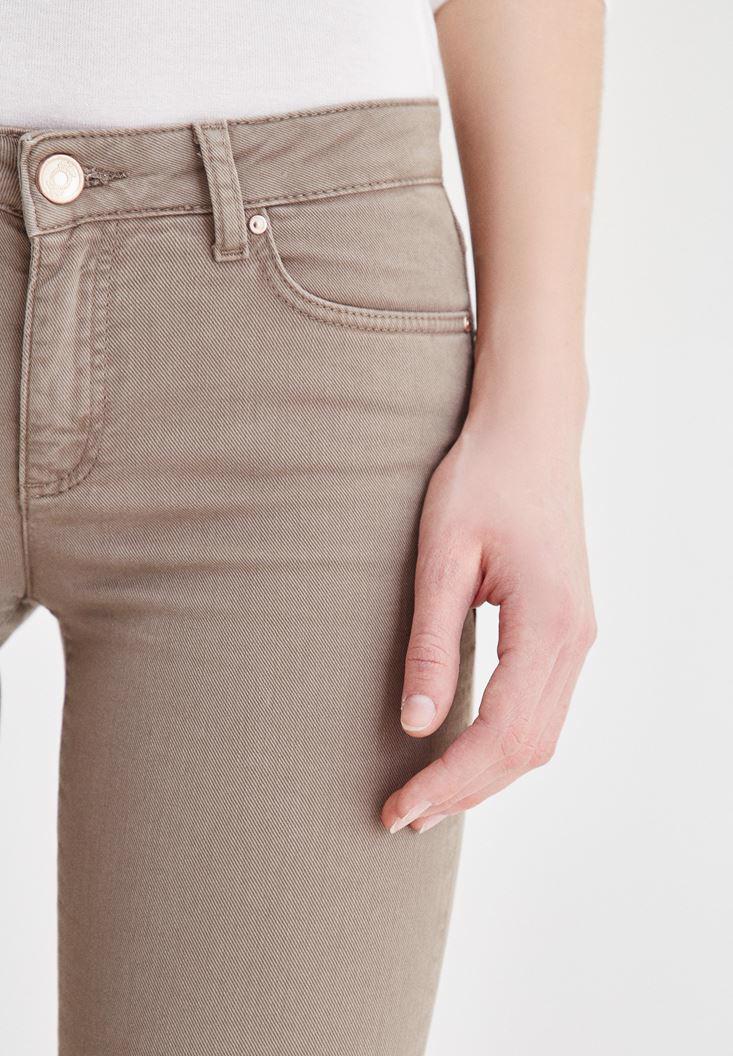 Women Brown Low Rise Boot Leg Pants