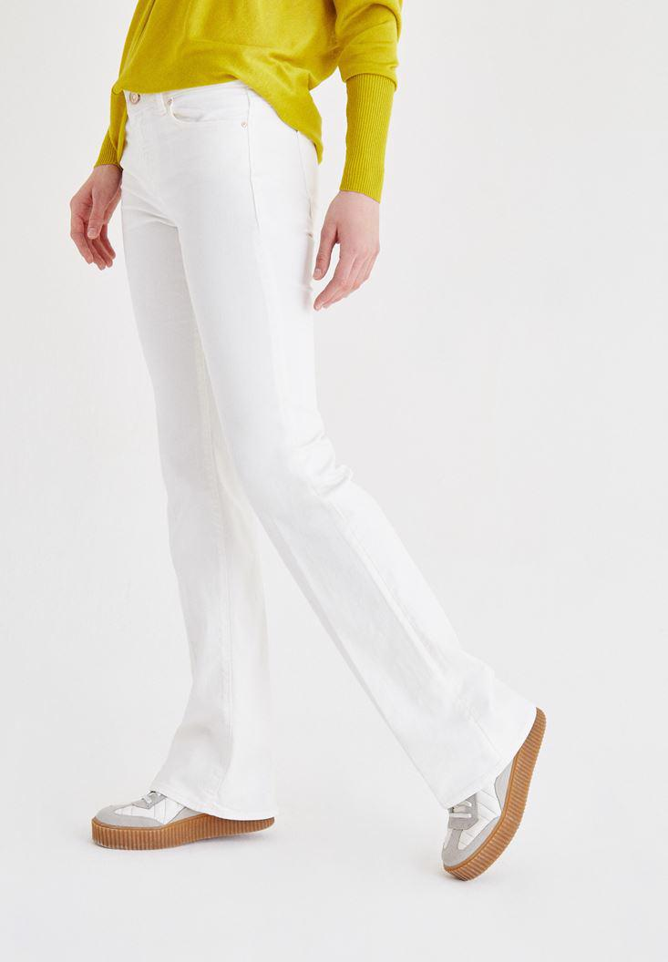 Women Cream Low Rise Boot Leg Pants