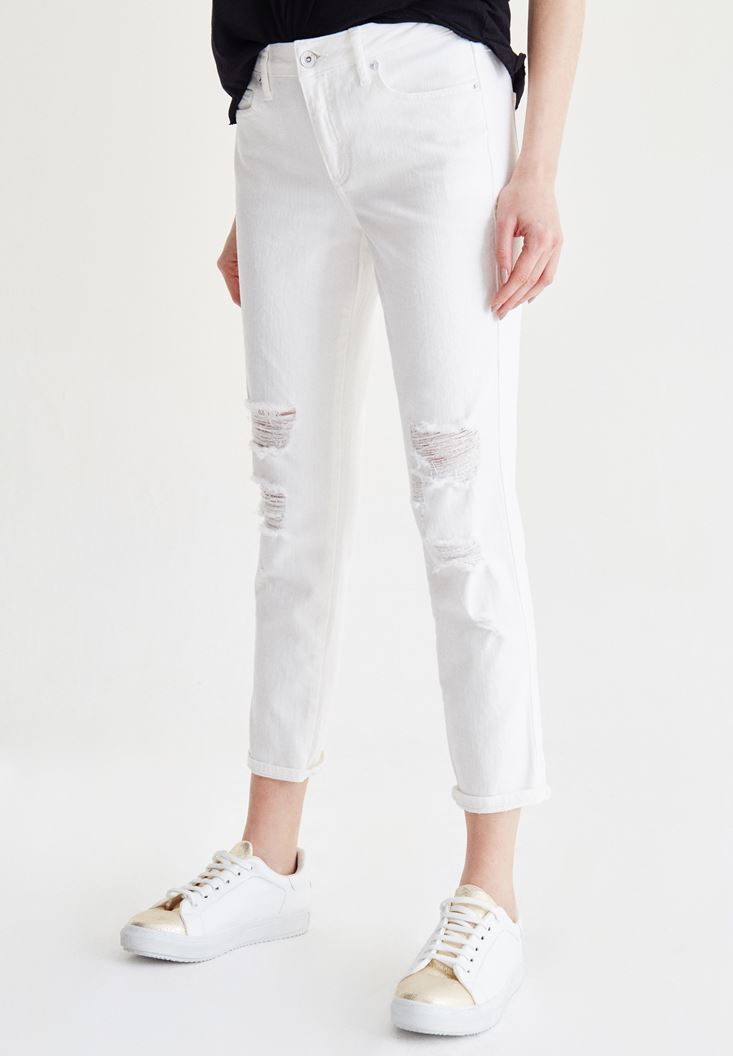 Bayan Beyaz Slim Boyfriend Jean