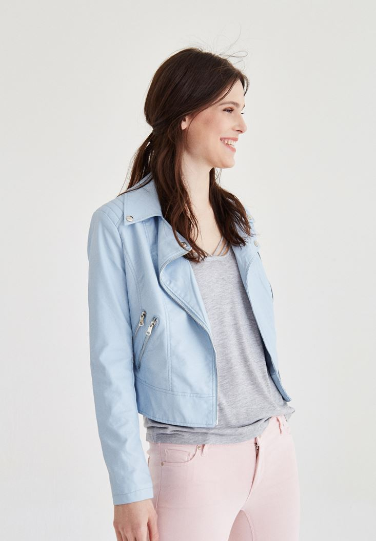 Blue Zippered Detail Leather Jacket
