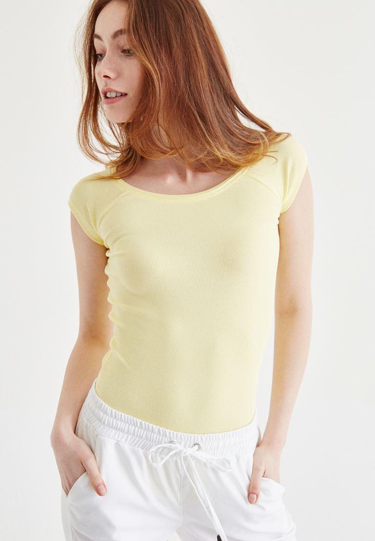 Bayan Sarı Bot Yaka Kaşkorse Tişört