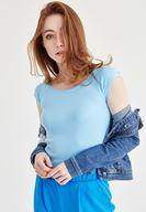 Bayan Mavi Bot Yaka Kaşkorse Tişört