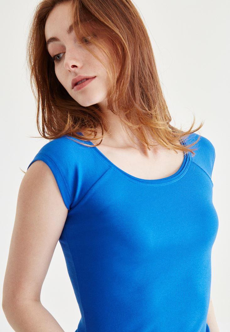 Mavi Bot Yaka Kaşkorse Tişört