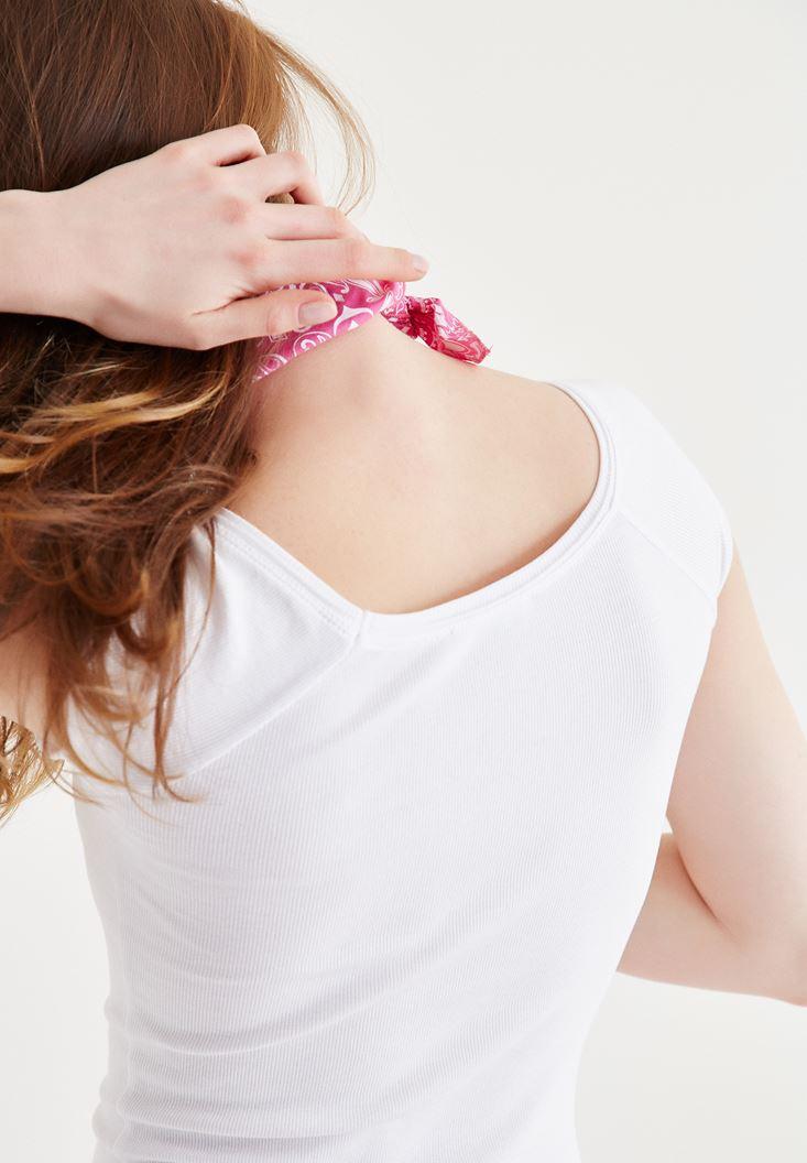Bayan Beyaz Bot Yaka Kaşkorse Tişört