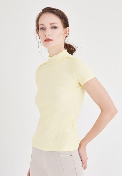 Sarı Balıkçı Yaka Tişört
