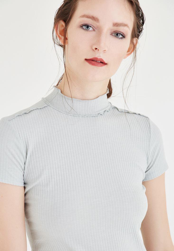 Bayan Gri Balıkçı Yaka Tişört