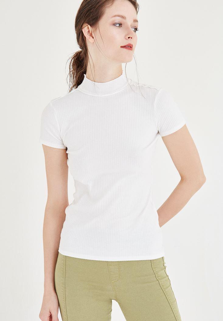 Bayan Krem Balıkçı Yaka Tişört