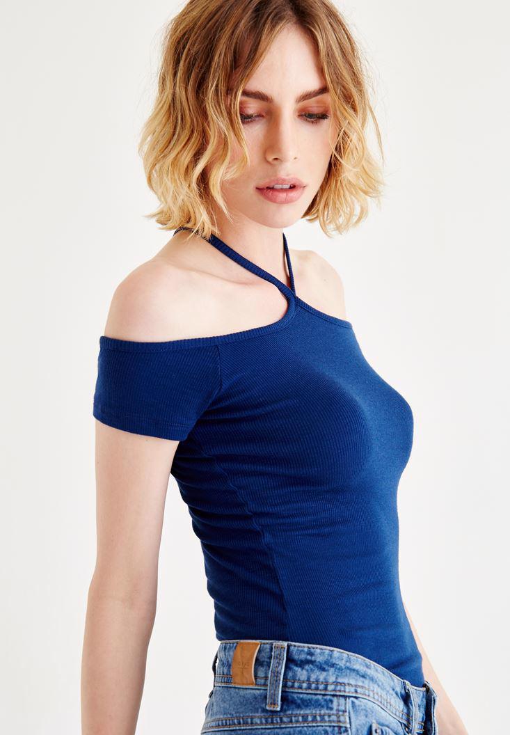 Bayan Lacivert Biye Detaylı Bluz