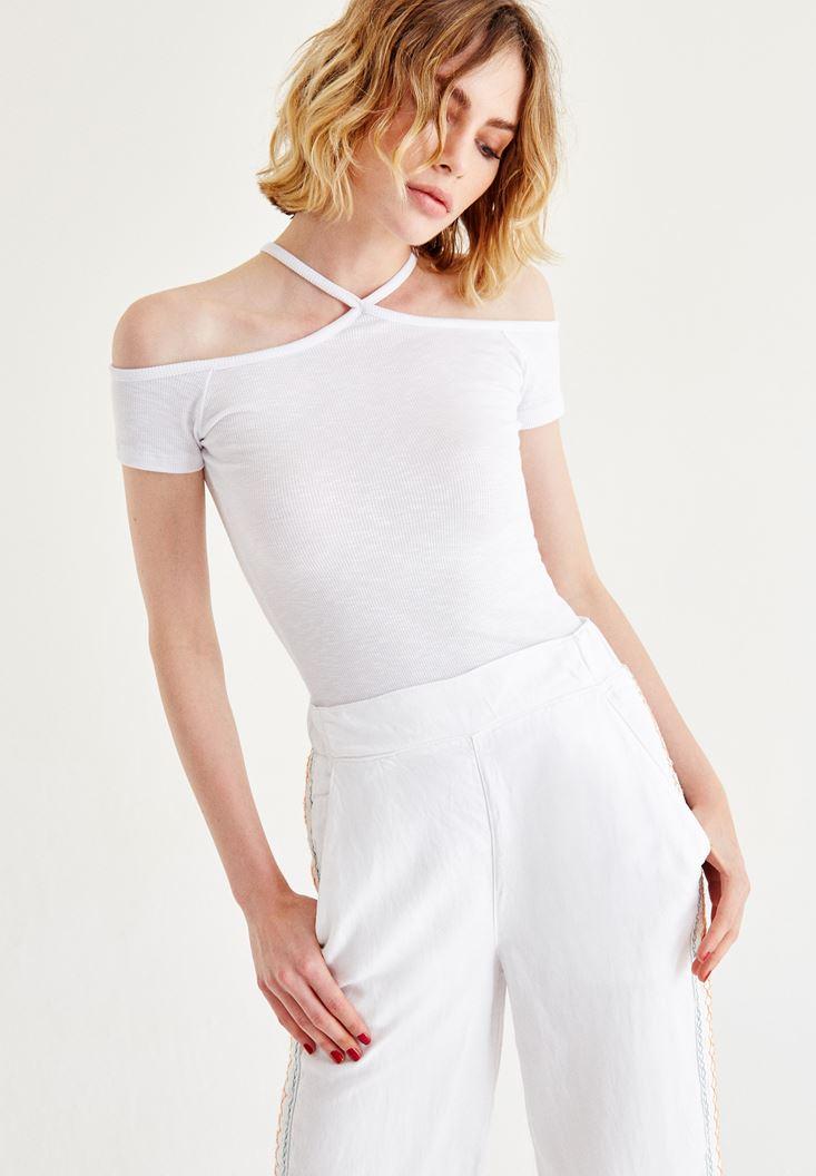 Bayan Beyaz Biye Detaylı Bluz