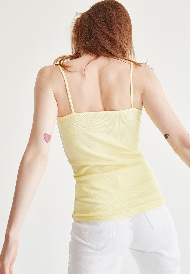 Bayan Sarı Dantel Detayli Atlet