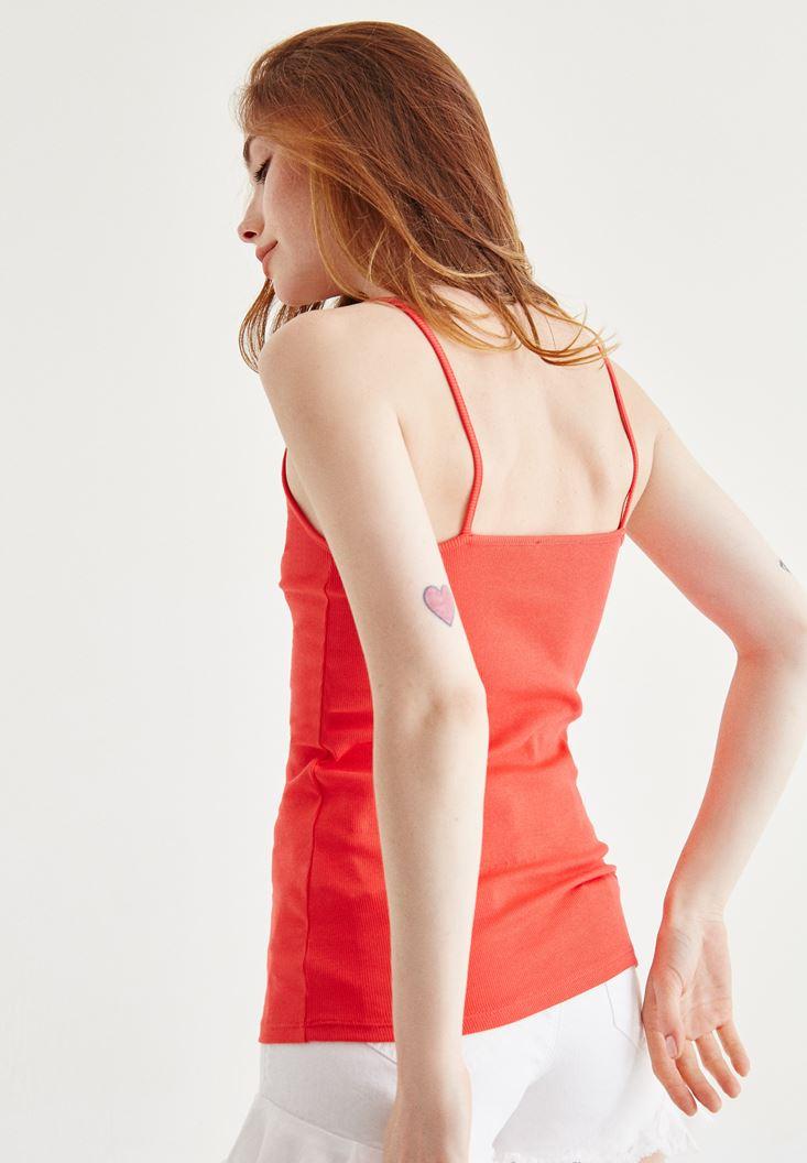 Bayan Kırmızı Dantel Detayli Atlet