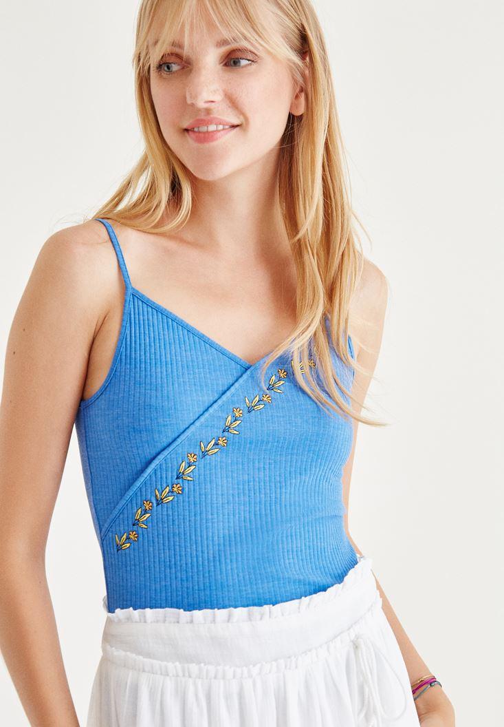Mavi İşlemeli Bluz