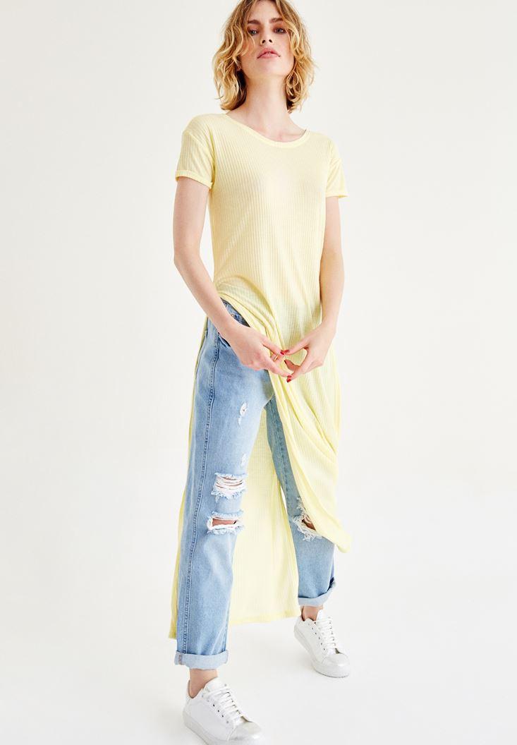 Sarı Yırtmaçlı Uzun Tişört