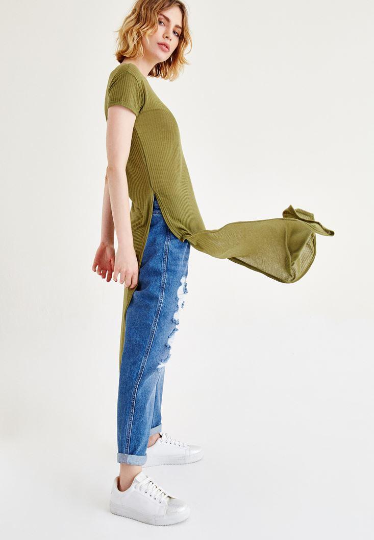 Yeşil Yırtmaçlı Uzun Tişört