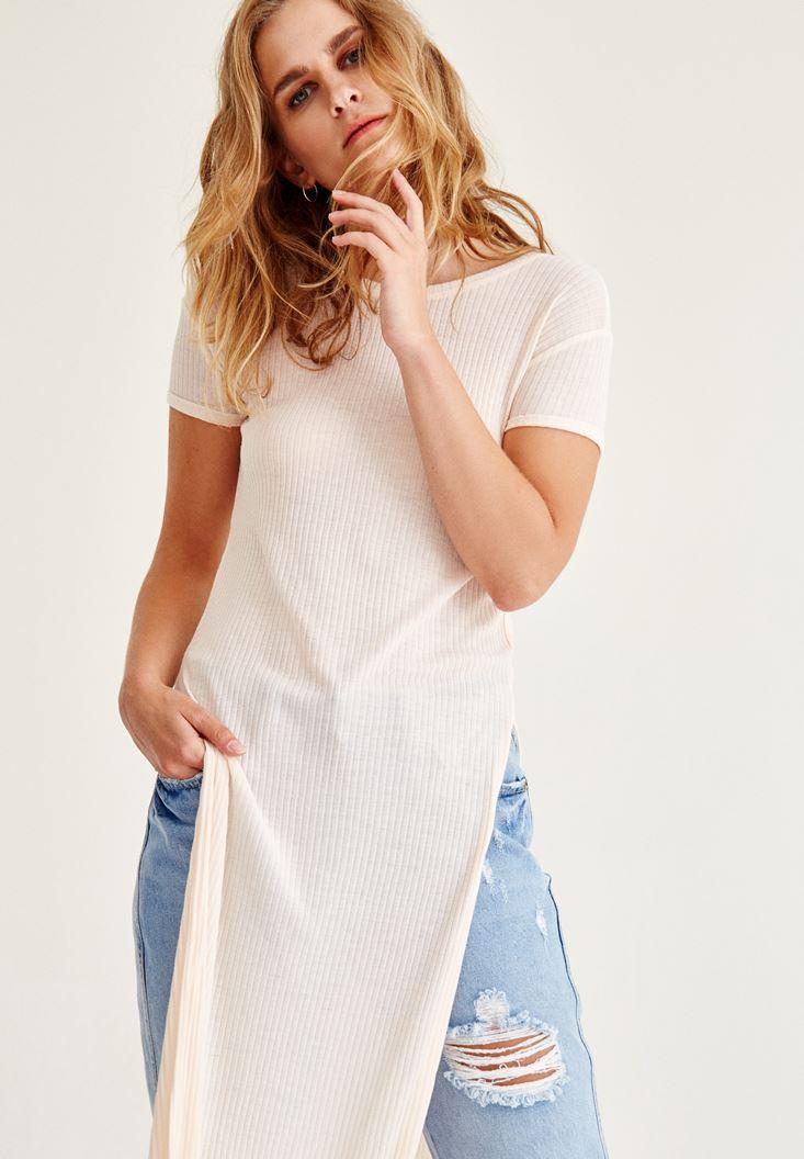 Krem Simli Yırtmaç Detaylı Uzun Bluz