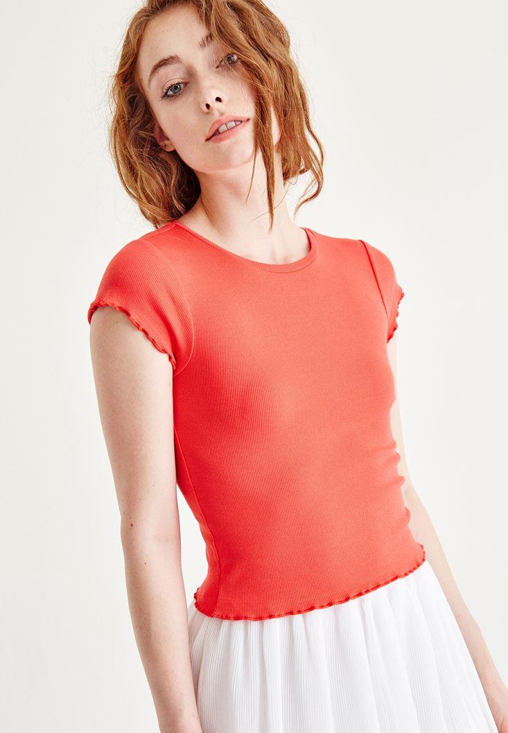 Bayan Kırmızı Fırfırlı Bluz