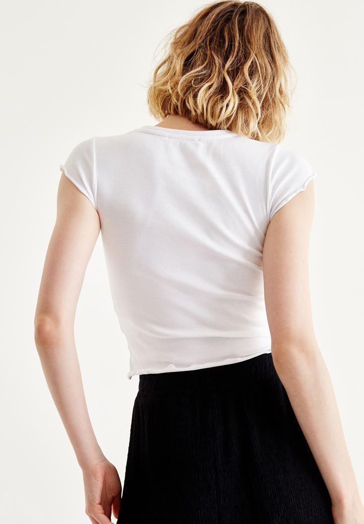 Bayan Beyaz Fırfırlı Bluz