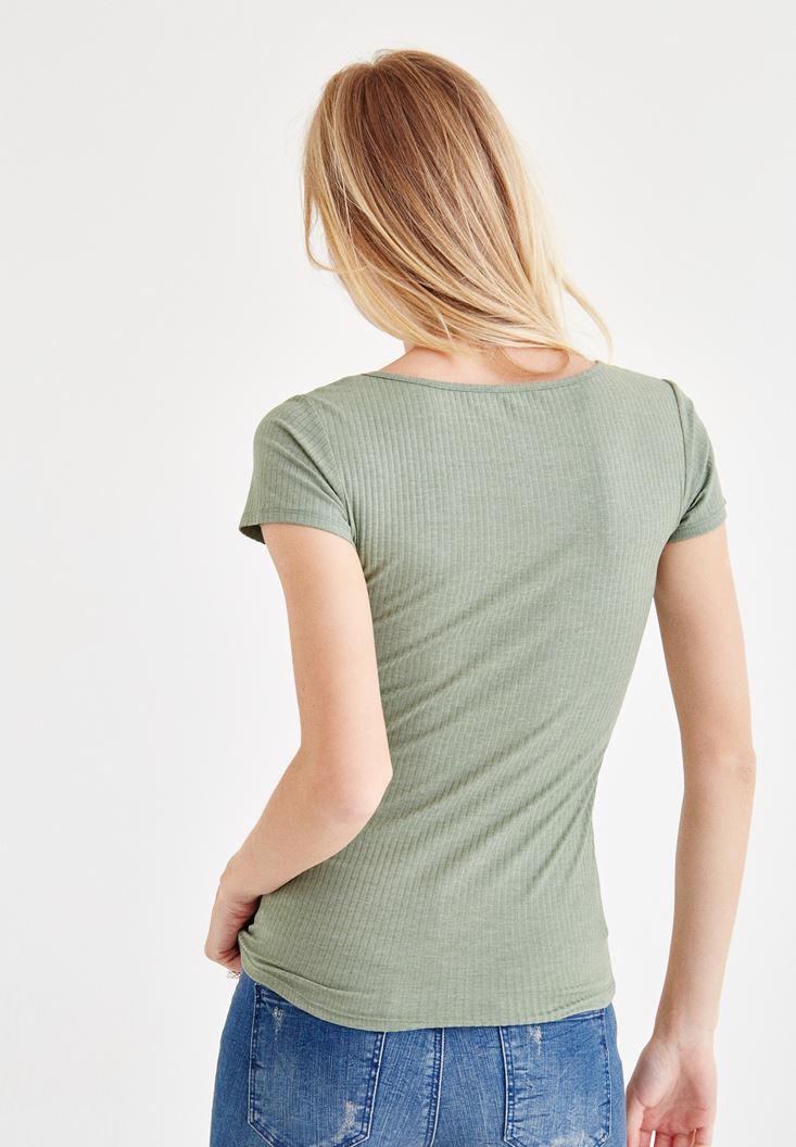 Bayan Yeşil Yarım Kollu Tişört