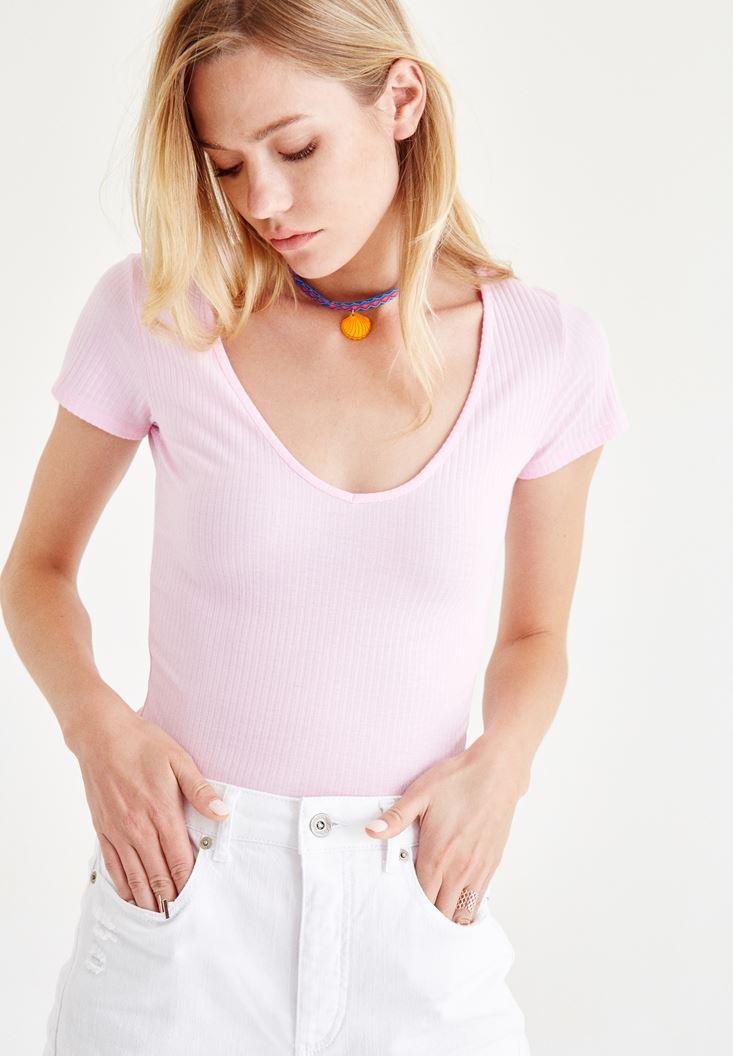 Bayan Kahverengi Yarım Kollu Tişört