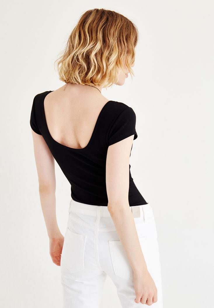 Bayan Siyah Yarım Kollu Basic Tişört