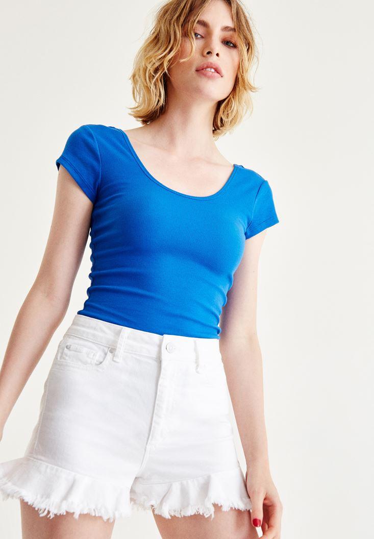 Mavi Yarım Kollu Basic Tişört
