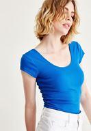 Bayan Mavi Yarım Kollu Basic Tişört