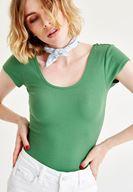 Bayan Yeşil Yarım Kollu Basic Tişört