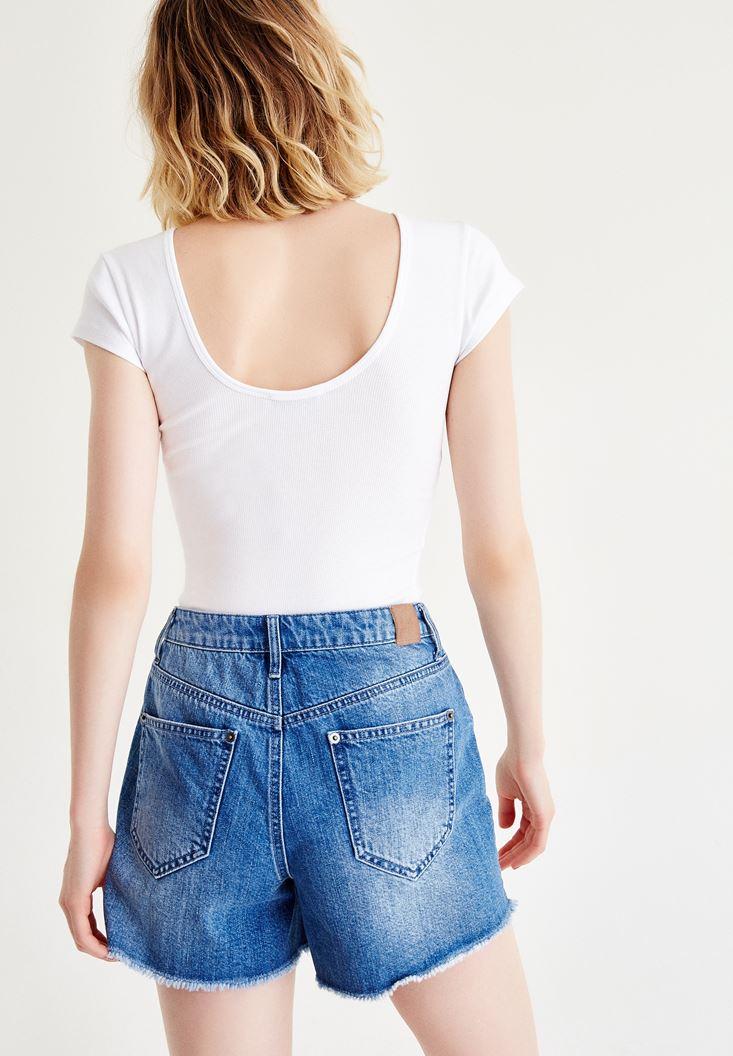 Bayan Beyaz Yarım Kollu Basic Tişört