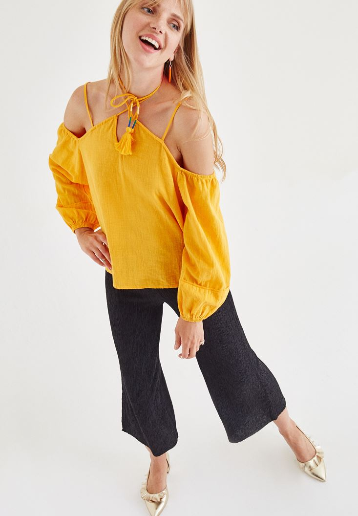 Orange Off-The-Shoulder Blouse