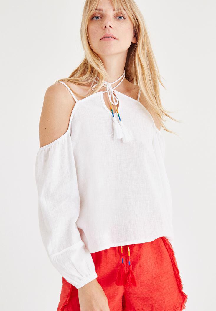 Bayan Beyaz Düşük Omuzlu Bluz