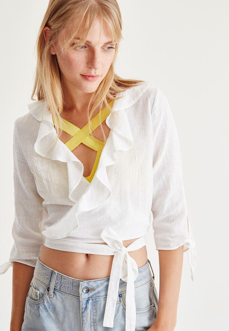 Bayan Beyaz Kruvaze Yaka Bluz