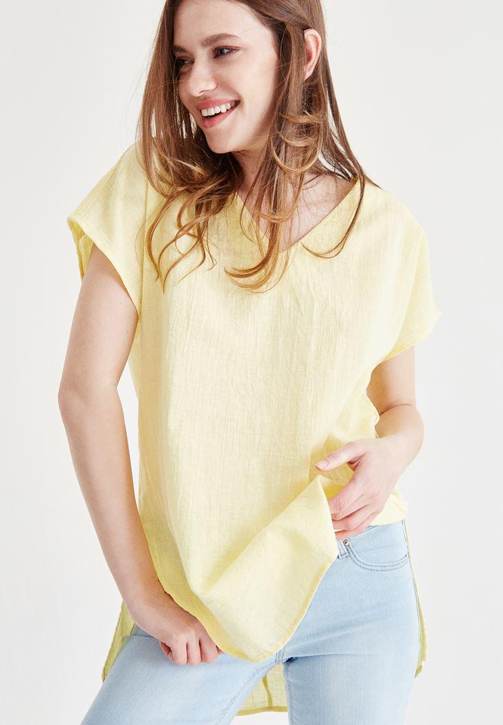 Sarı Sırt Detaylı Bluz