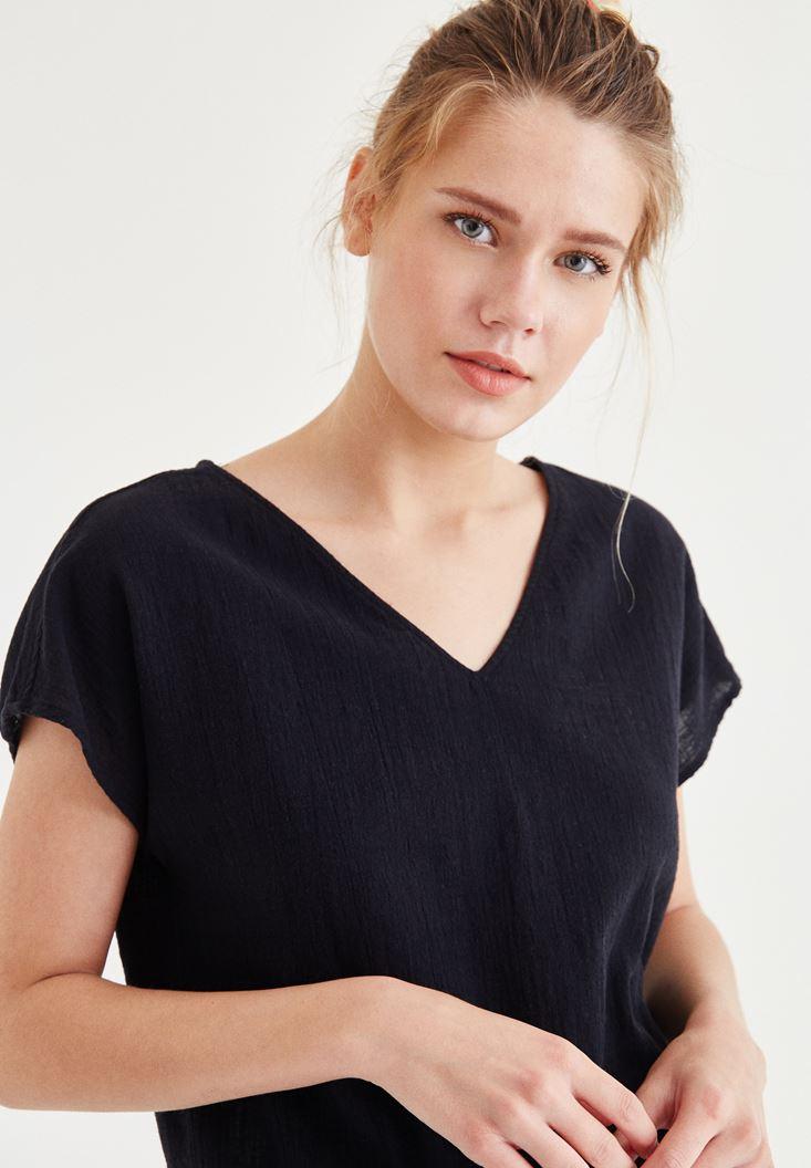 Bayan Siyah Sırt Detaylı Bluz