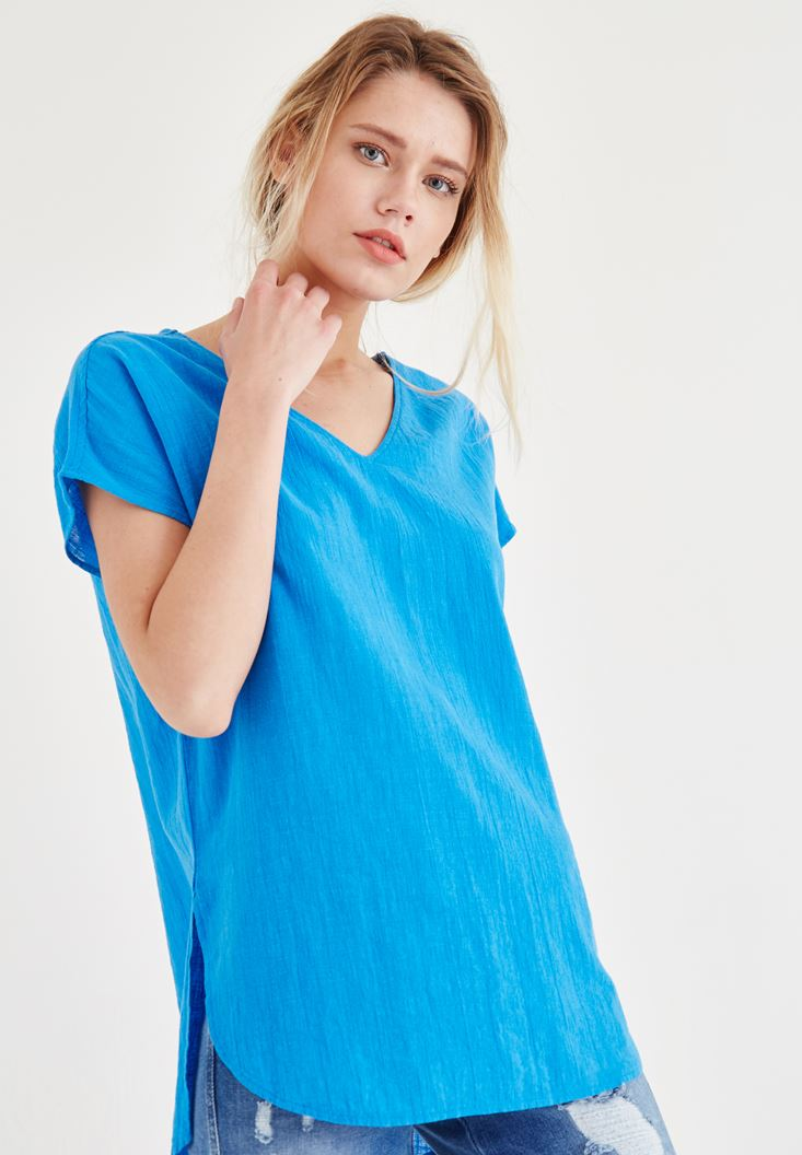 Bayan Mavi Sırt Detaylı Bluz