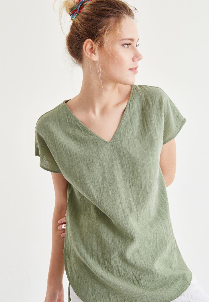 Bayan Yeşil Sırt Detaylı Bluz