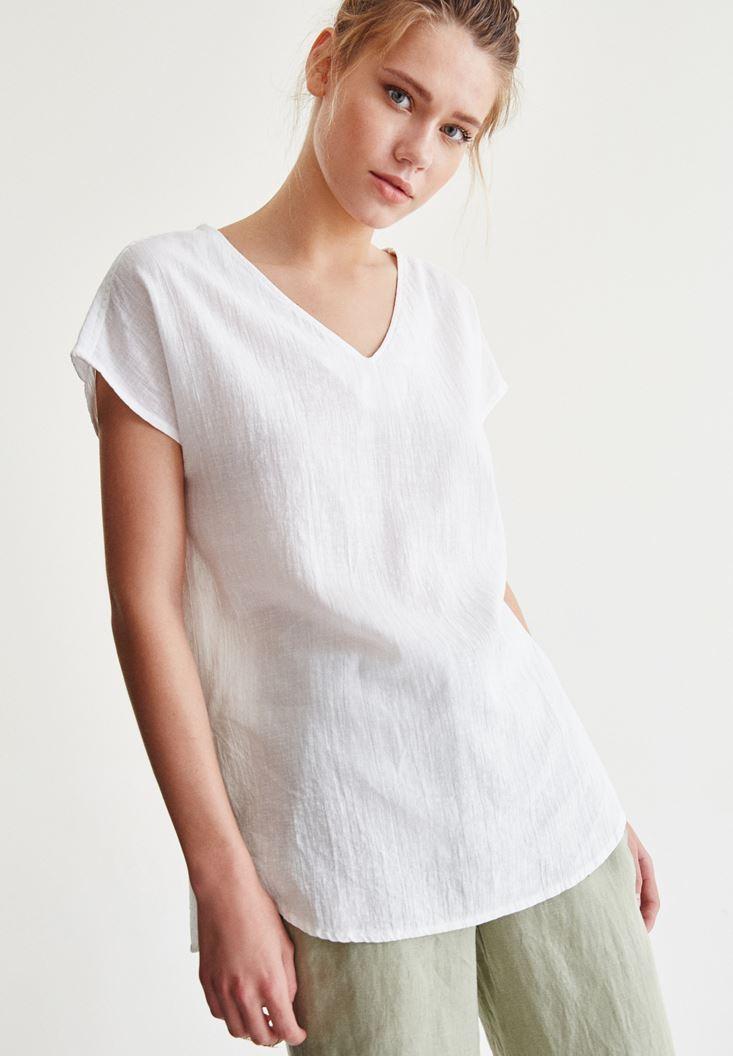 Beyaz Sırt Detaylı Bluz