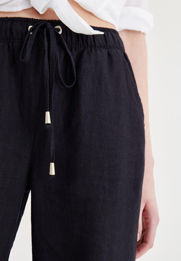 Bayan Siyah Bağcık Detaylı Pantolon
