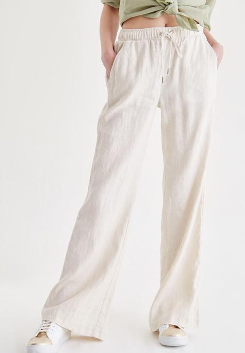 Krem Bağcık Detaylı Pantolon