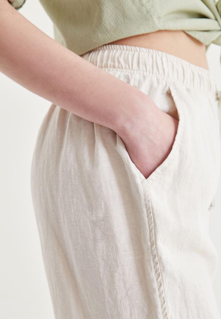 Bayan Krem Bağcık Detaylı Pantolon