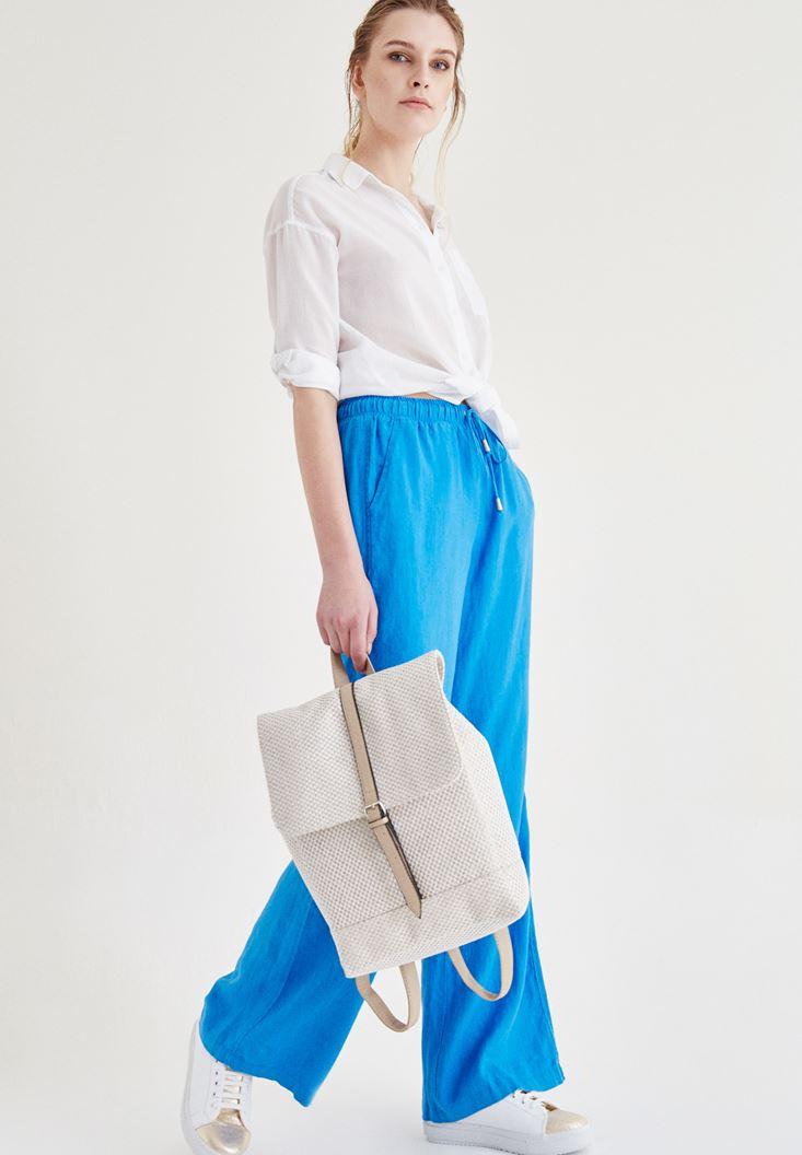 Bayan Mavi Bağcık Detaylı Pantolon
